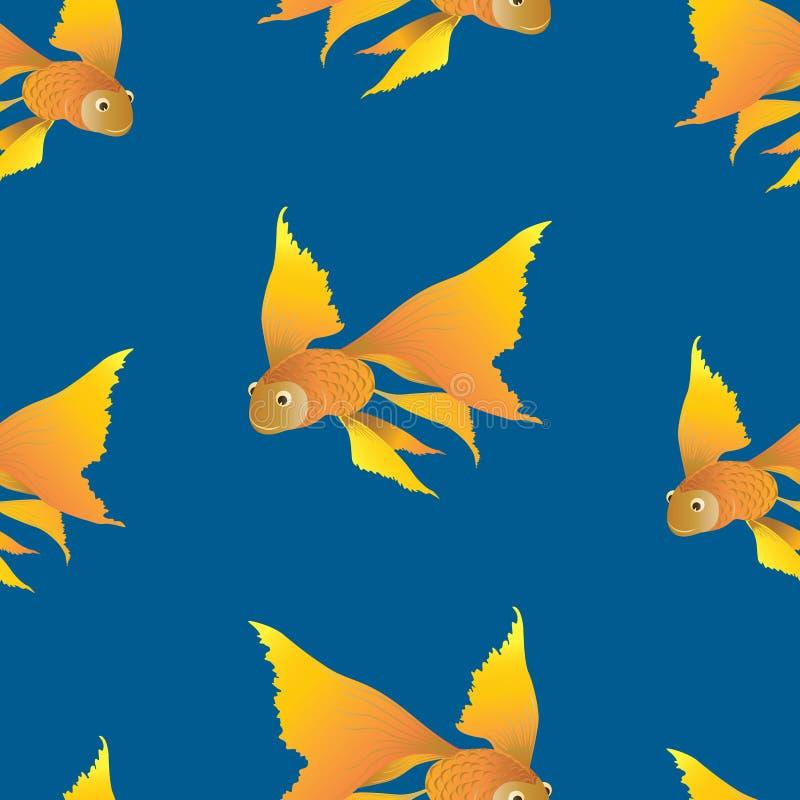 幻想金鱼的无缝的样式 库存例证