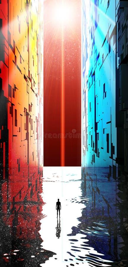 幻想风景,裂痕,黑暗,光,太阳,在一个大门户前面的人科幻风景的 库存例证