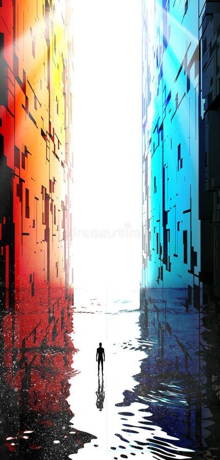 幻想风景,裂痕,黑暗,光,太阳,在一个大门户前面的人科幻风景的 向量例证