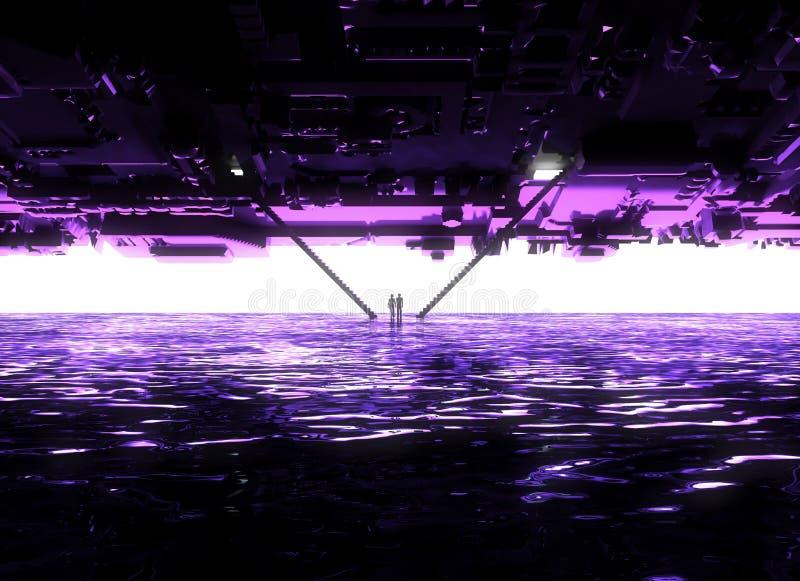 幻想风景,裂痕,黑暗,光,太阳,背后照明的人们在科幻环境美化,大轻的门户,台阶 库存例证