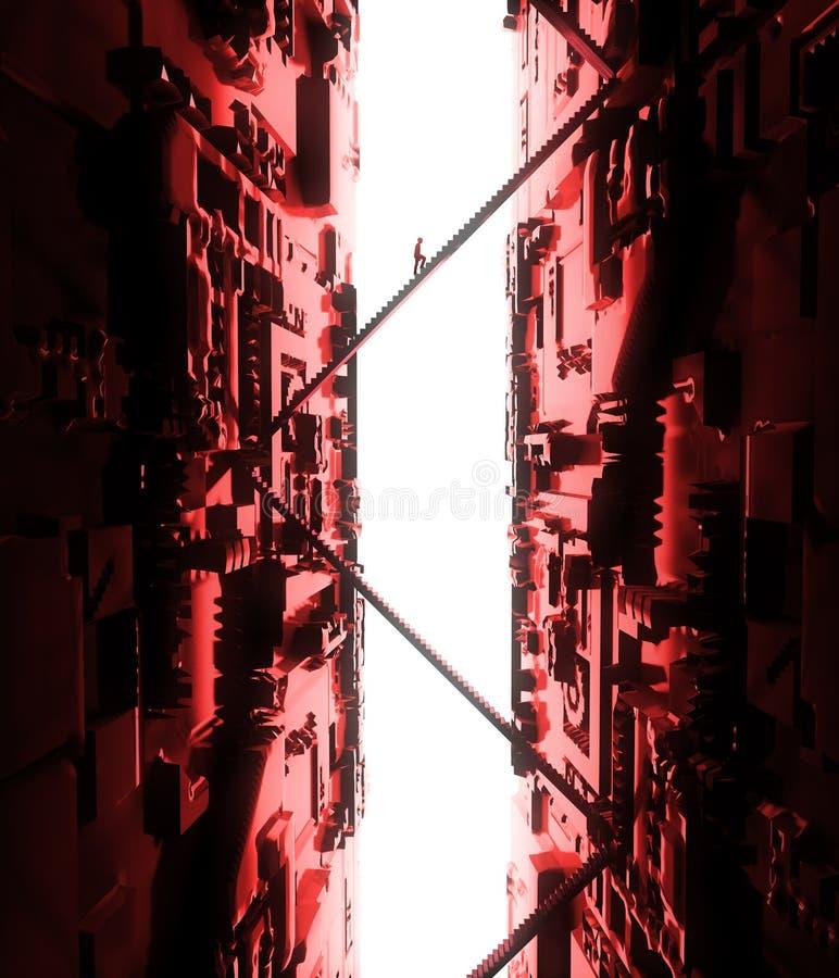 幻想风景,裂痕,黑暗,光,太阳,背后照明的人们在科幻环境美化,大轻的门户,台阶 向量例证
