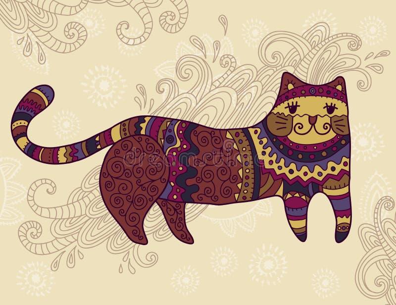 幻想风格化猫 向量例证