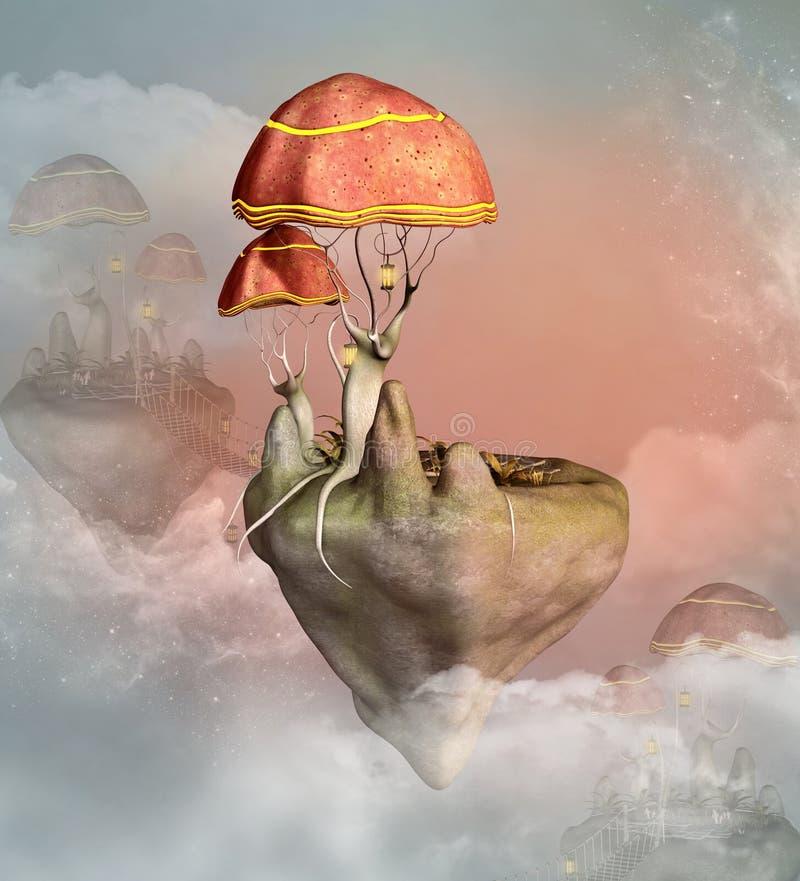 幻想飞行蘑菇镇 皇族释放例证
