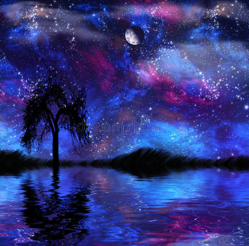 幻想nightscape 向量例证