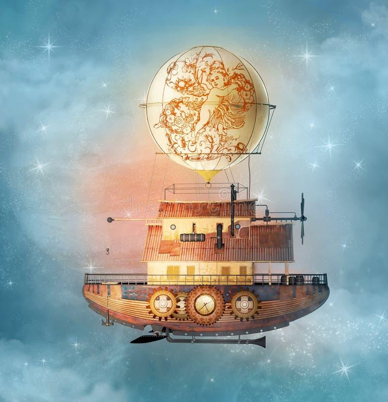 幻想steampunk飞艇在满天星斗的天空飞行 库存例证