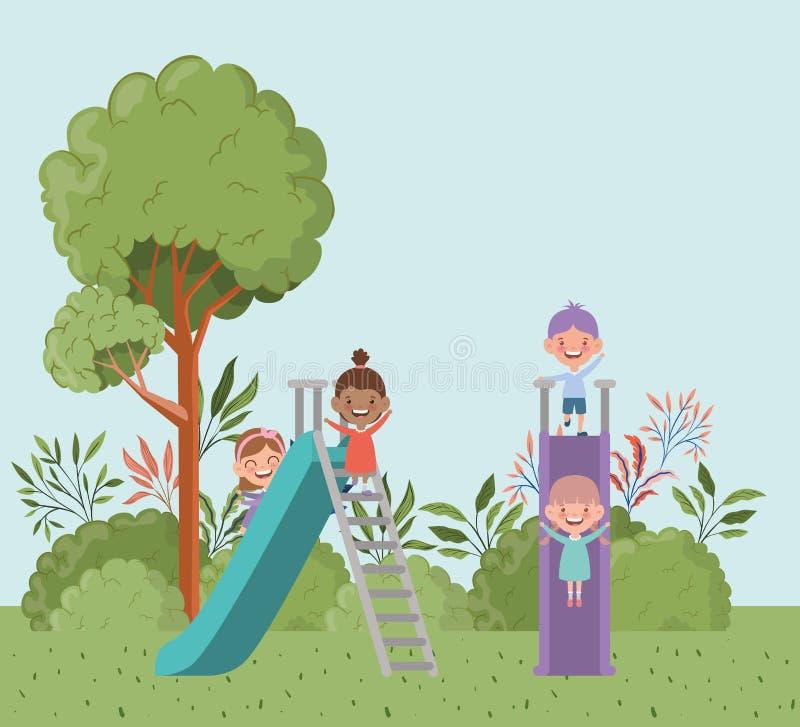 幻灯片公园风景场面的愉快的小孩 皇族释放例证