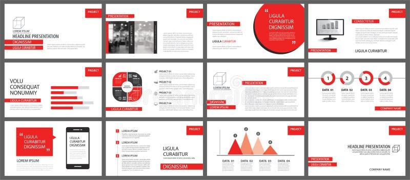 幻灯片放映背景的红色介绍模板 Infographi 皇族释放例证