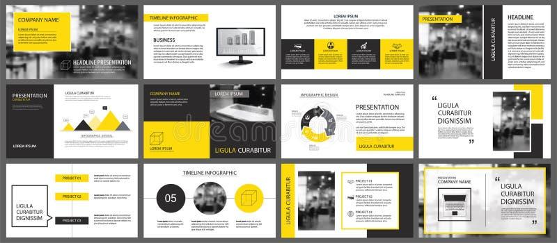 幻灯片的黄色和白色元素infographic在背景 PR 库存例证