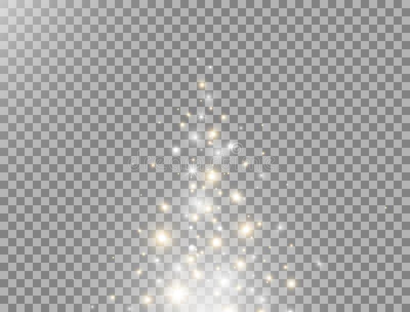 幻粒子飞起 闪光与发光效果 星球上闪闪发金和白闪亮 金星尘 库存图片