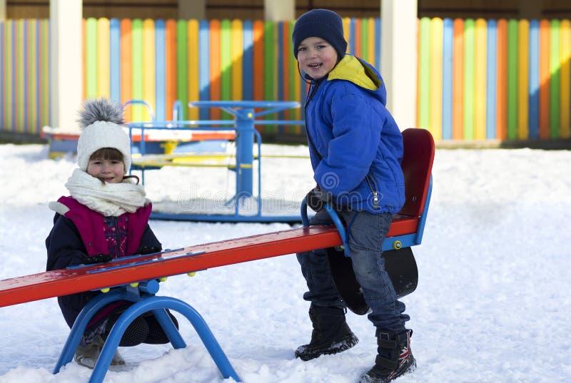 幼儿园冬季户外儿童 免版税库存照片