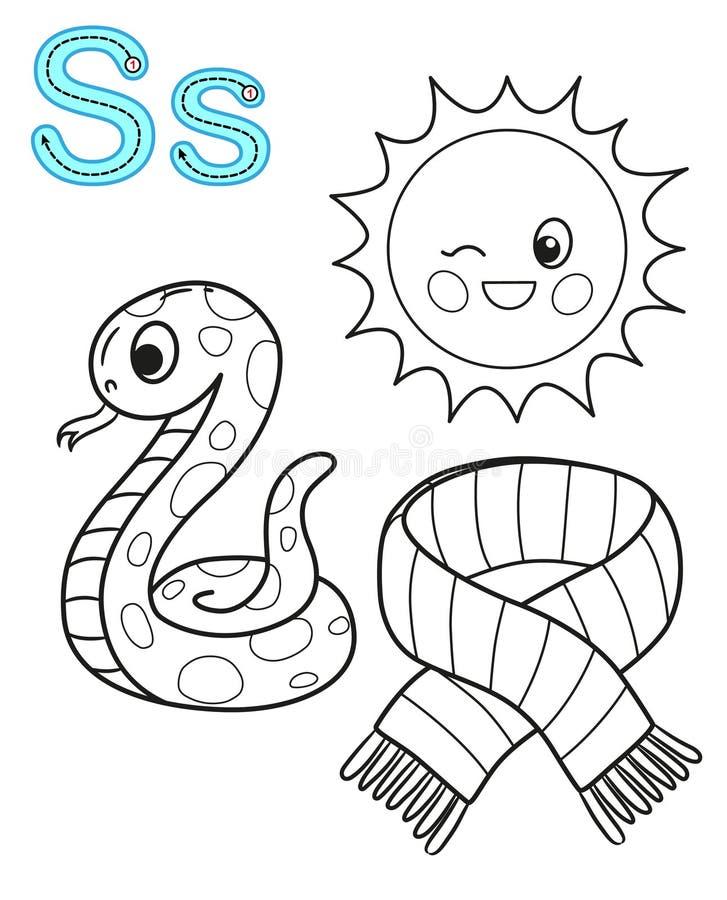 幼儿园和幼儿园的可印的上色页 学习英语的卡片 传染媒介彩图字母表 ??S 围巾, 向量例证
