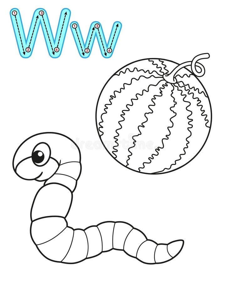 幼儿园和幼儿园的可印的上色页 学习英语的卡片 传染媒介彩图字母表 ??w 皇族释放例证