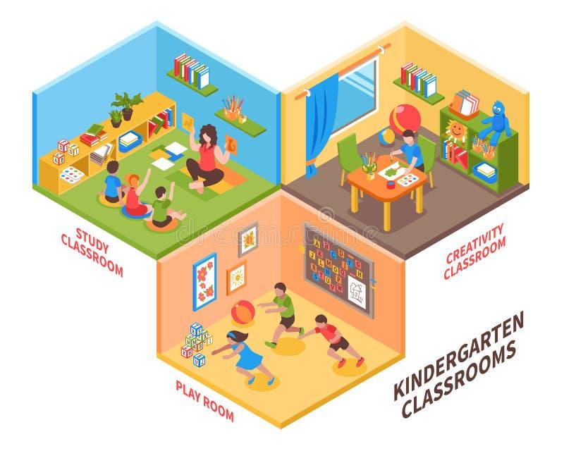 幼儿园室内等量例证 库存例证