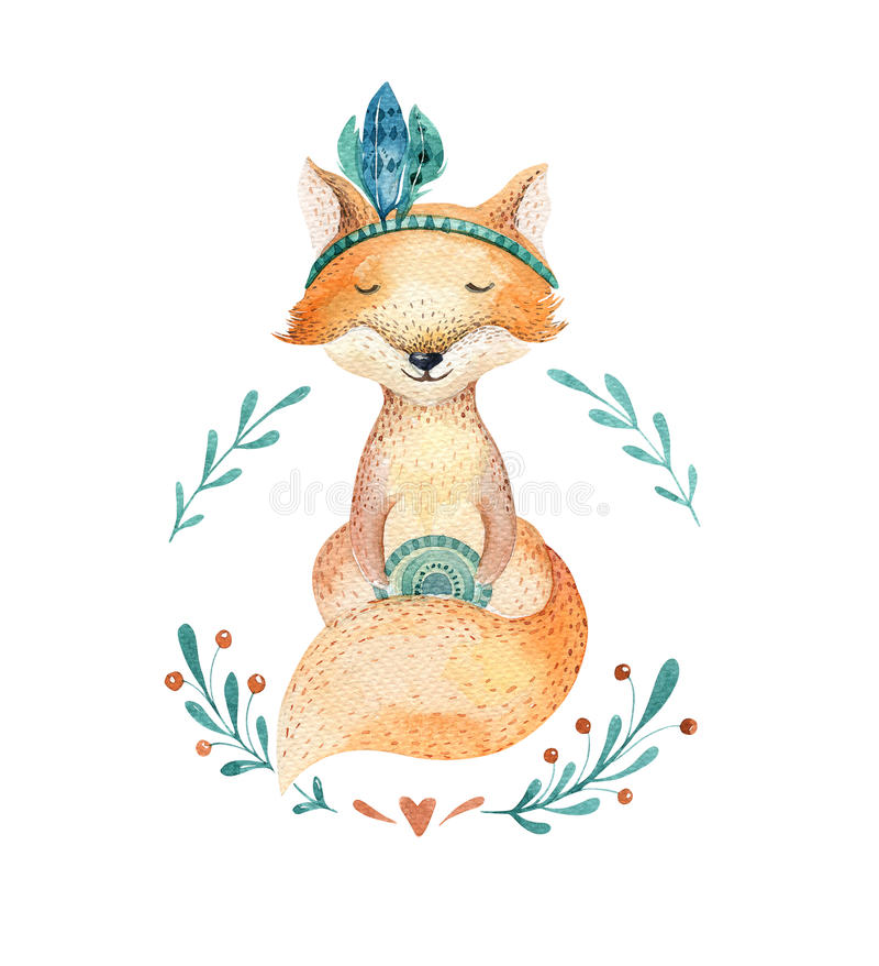 幼儿园的逗人喜爱的小狐狸动物,托儿所隔绝了illustr 向量例证