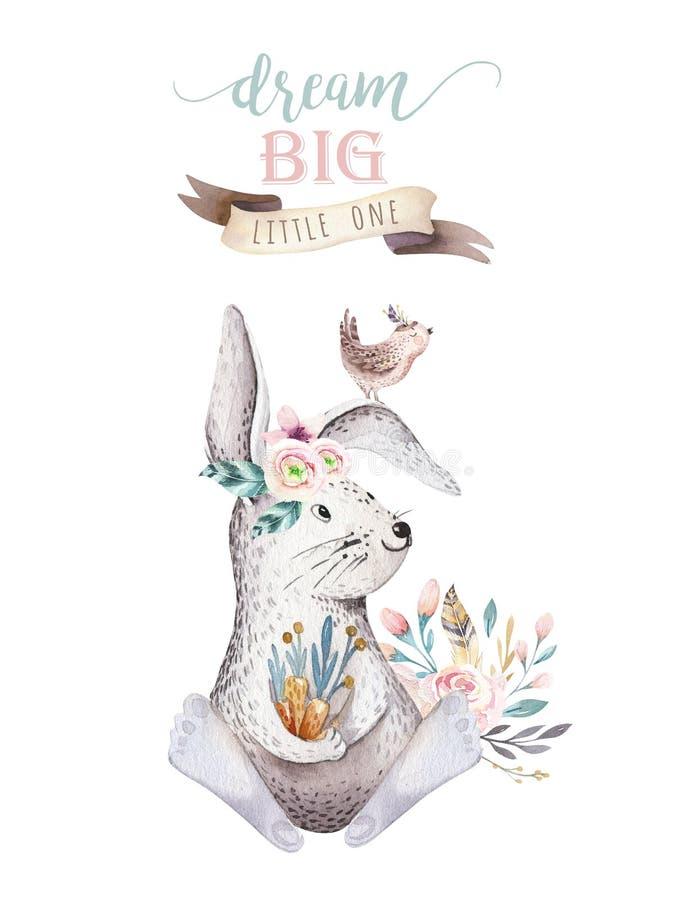 幼儿园的逗人喜爱的漂泊婴孩动画片兔子动物,森林地托儿所隔绝了兔宝宝森林例证为 皇族释放例证