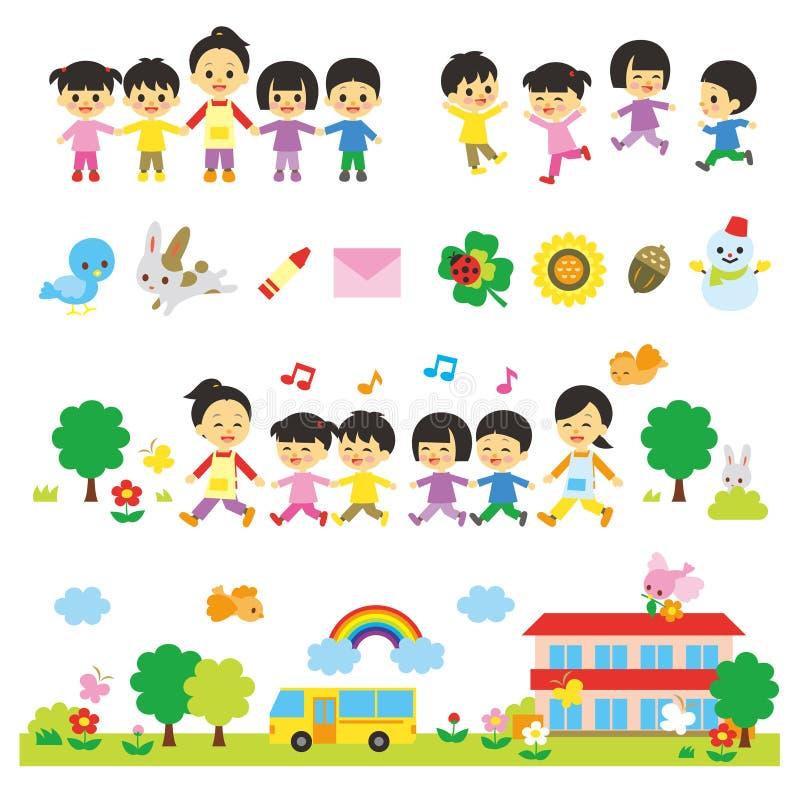 幼儿园老师和幼儿园老师,托儿 库存例证