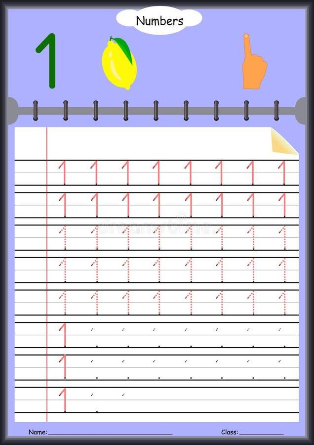 幼儿学会写数字,孩子的家庭作业 库存例证
