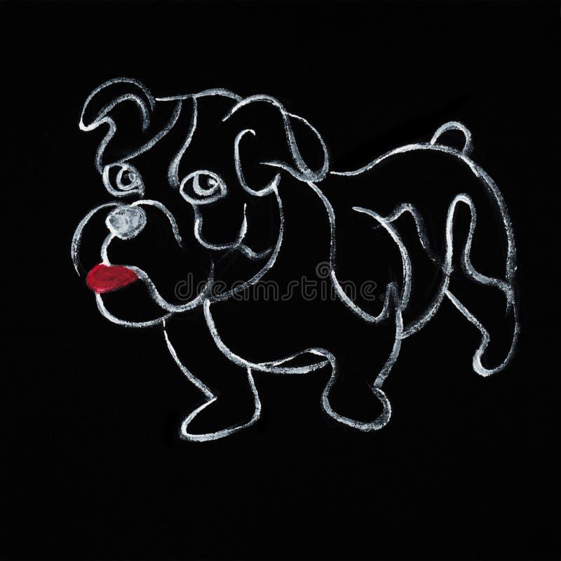 幼小牛头犬的画的无权在黑织品的 皇族释放例证
