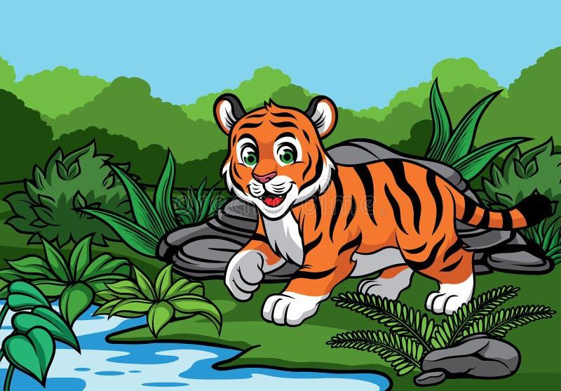 幼小老虎在密林 皇族释放例证