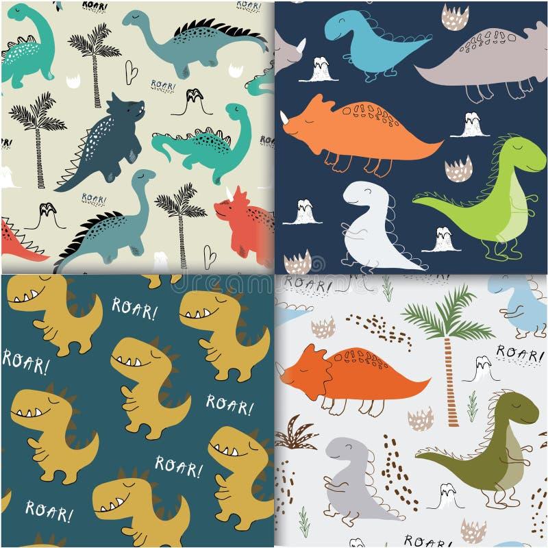幼稚为时尚衣裳设置的恐龙无缝的样式,织品,T恤杉 ?? 库存例证