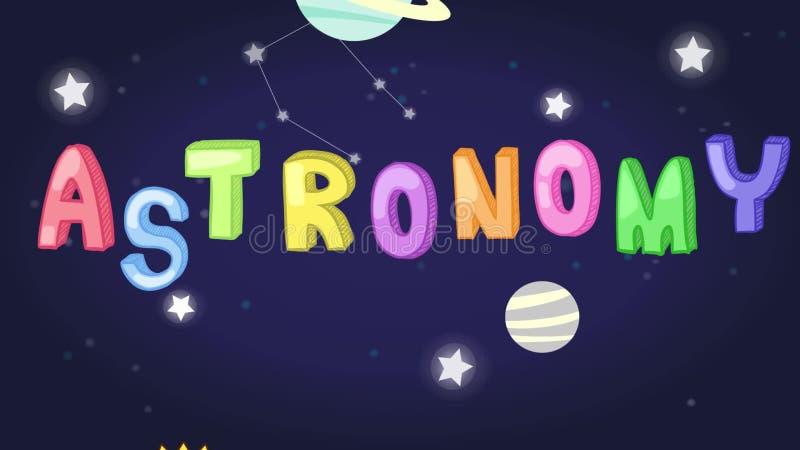 幼稚天文科学主题倒栽跳水的动画与五颜六色的文本和行星的担任主角火箭移动半新f的航天飞机象 向量例证