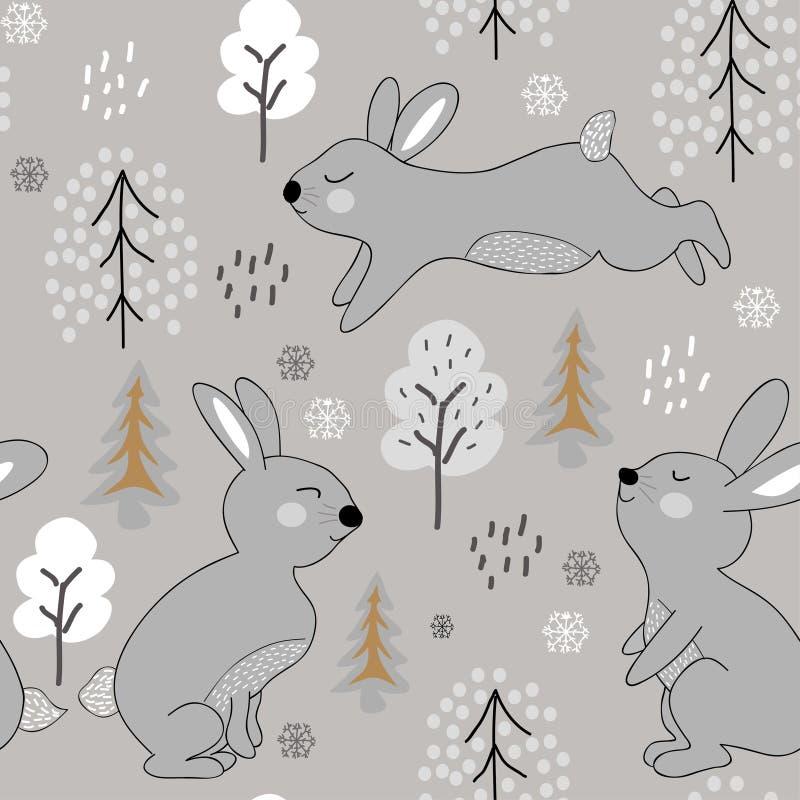 幼稚无缝的样式用兔子 冬天织品的,纺织品,墙纸,衣裳设计例证 皇族释放例证