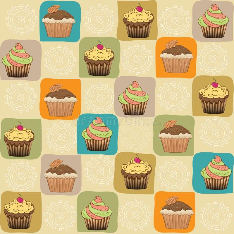 幼稚无缝的样式用杯形蛋糕 库存例证