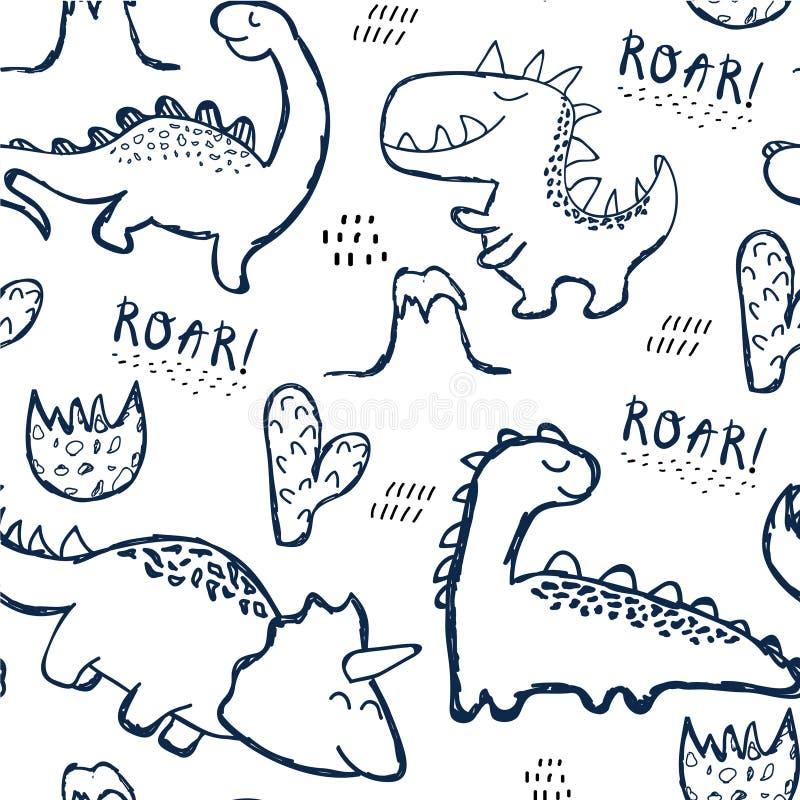 幼稚时尚衣裳的恐龙无缝的样式,织品,T恤杉 与字法的手拉的传染媒介 向量例证