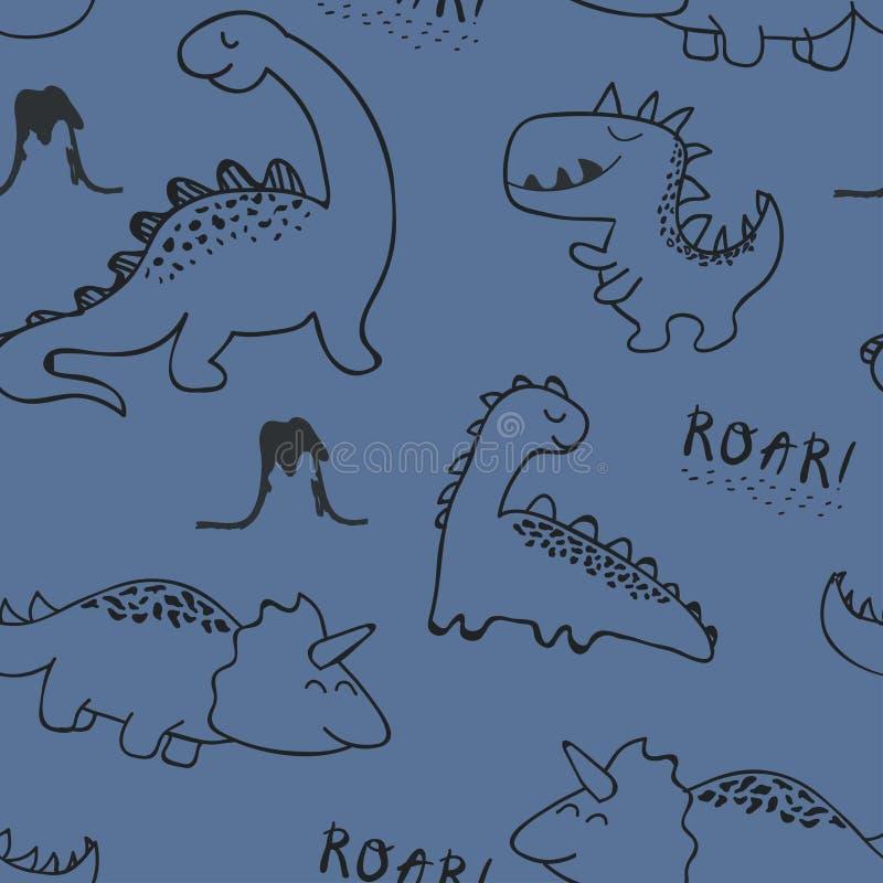 幼稚时尚衣裳的恐龙无缝的样式,织品,T恤杉 r 向量例证