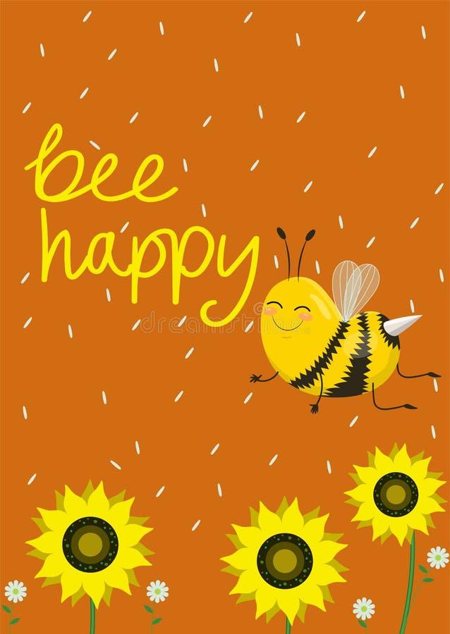 幽默卡片或印刷品在T恤杉 在橙色背景的两只逗人喜爱的蜂 r 愉快说明的蜂 皇族释放例证