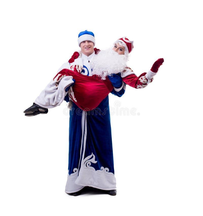 年轻幽默作家的图象圣诞节服装的 免版税图库摄影