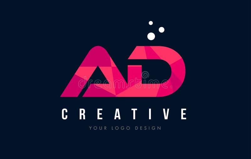 广告与紫色低多桃红色三角概念的一个D信件商标 库存例证