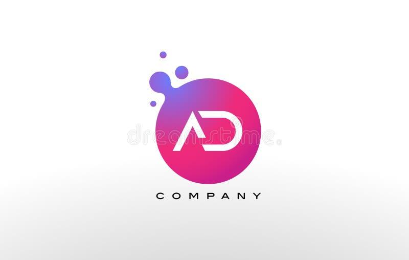 广告信件小点与创造性的时髦泡影的商标设计 向量例证
