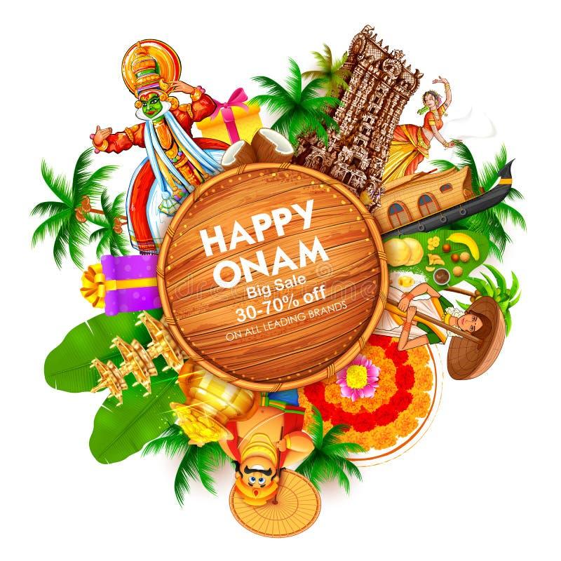 广告和促进背景南印度喀拉拉的愉快的Onam节日的 库存例证