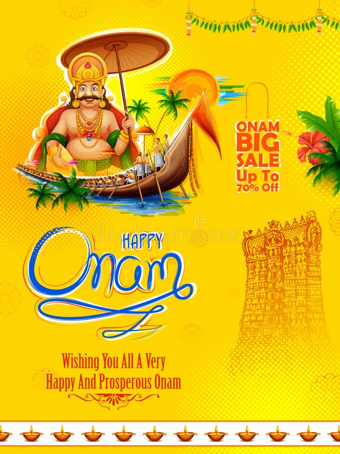 广告和促进背景的Mahabali国王南印度喀拉拉的愉快的Onam节日的 皇族释放例证
