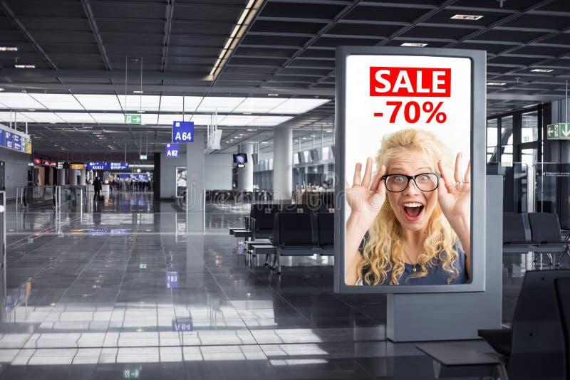 广告广告牌样品在机场 库存图片
