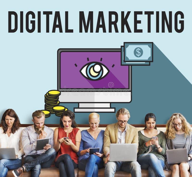 广告数字式营销电子商务多媒体概念 免版税库存图片