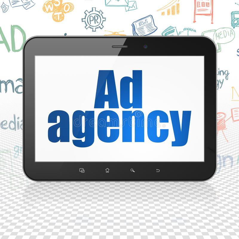 广告概念:有广告代理的片剂计算机在显示 皇族释放例证