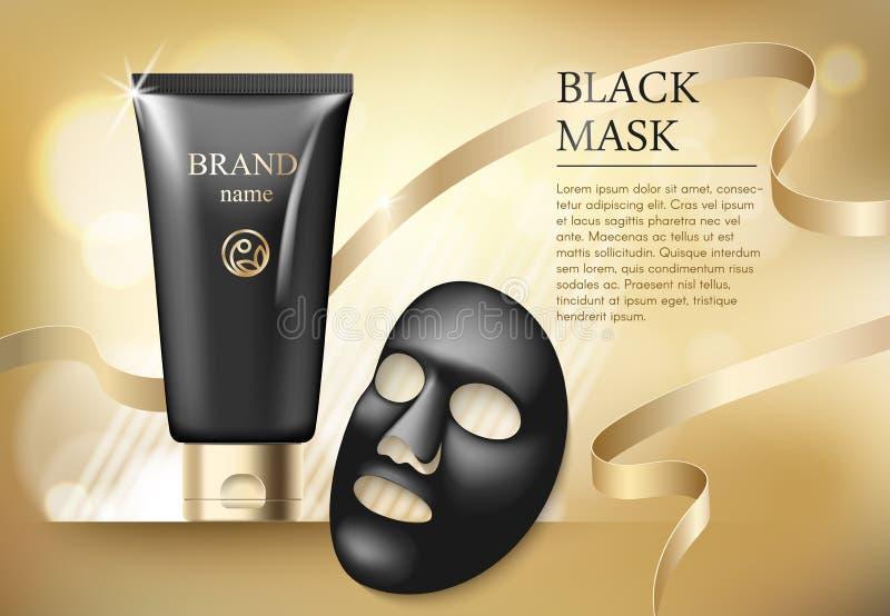 广告模板,与现实黑反鸥面具,优质skincare产品塑料管的空白的护肤大模型  库存例证