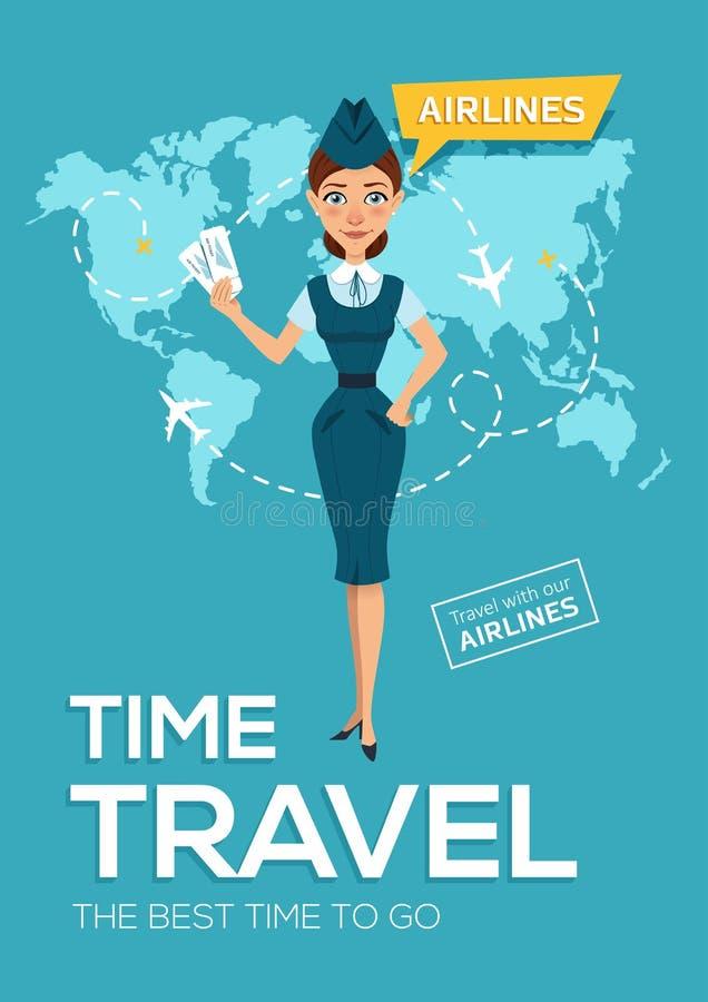 广告海报,航空公司横幅  最佳的时候旅行 空中小姐保留飞机票和提议继续旅行 库存例证
