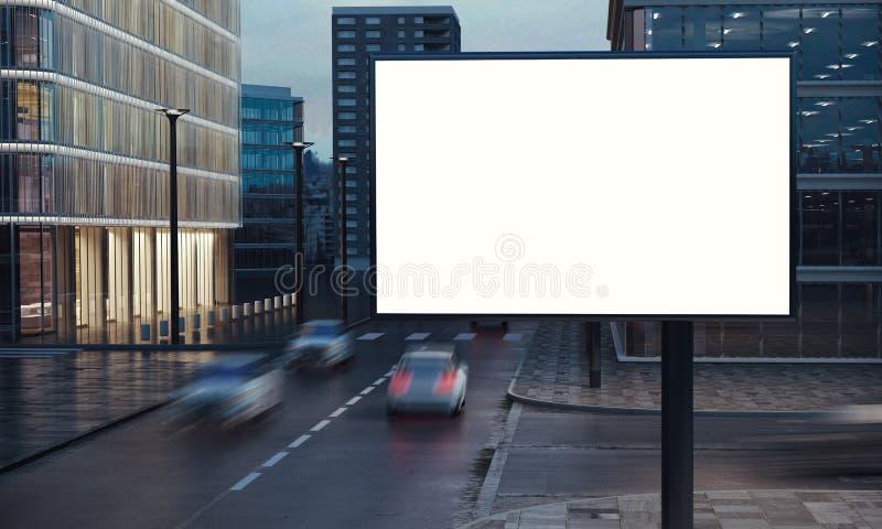 广告牌在城市夜 库存图片
