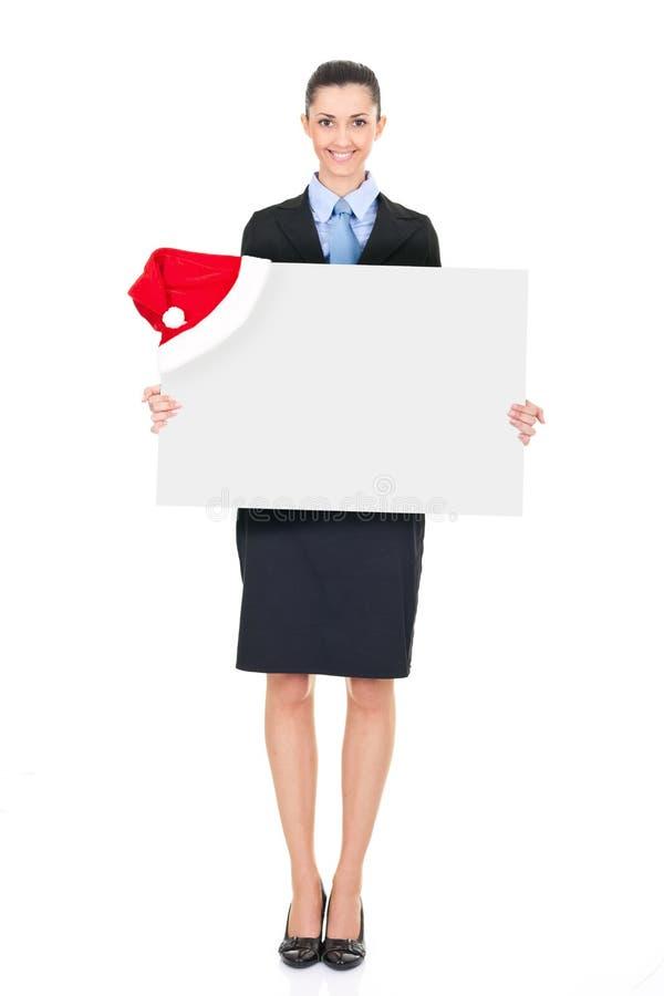 广告牌女实业家圣诞老人 免版税库存照片