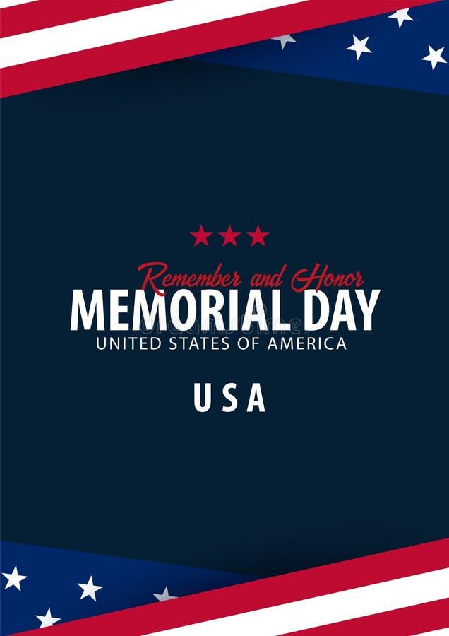 广告牌日查出的纪念白色 记住并且尊敬 美国 美国国旗 向量例证
