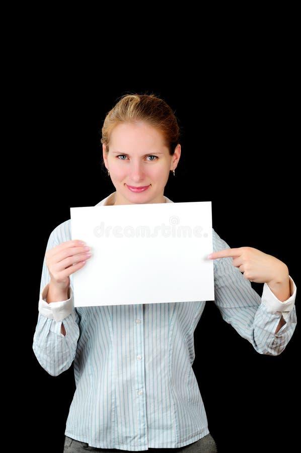 广告牌空白妇女 免版税库存照片