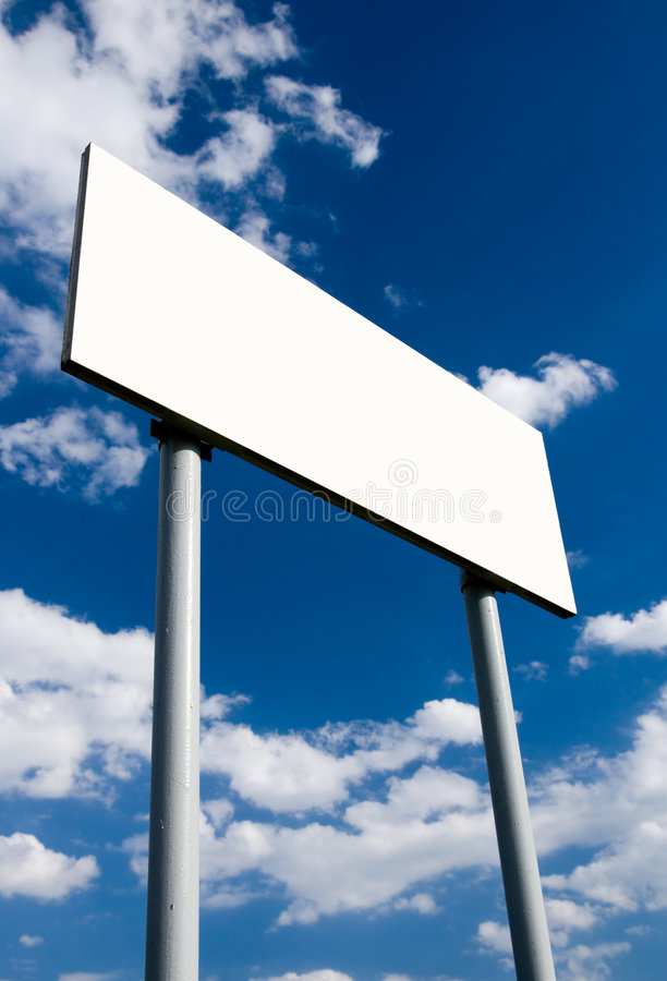 广告牌空白蓝色多云天空白色 库存图片