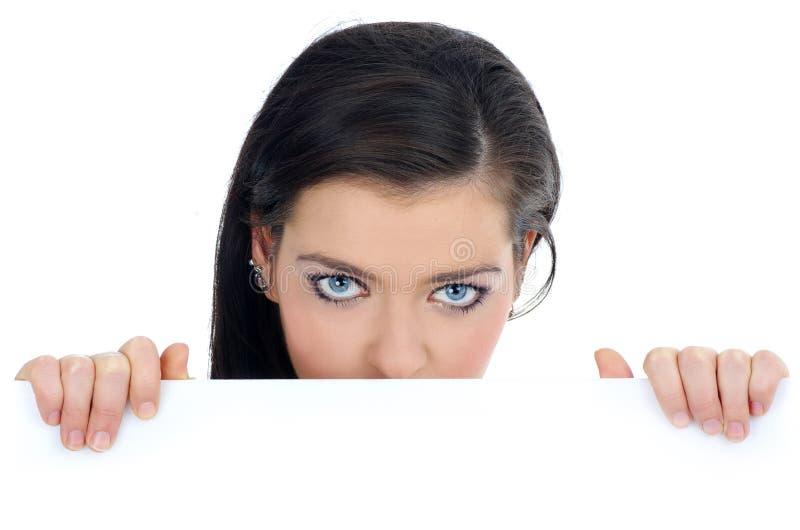 广告牌空白藏品妇女 免版税库存图片