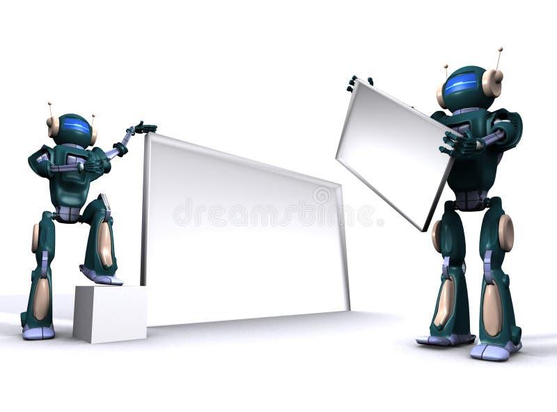 广告牌空的机器人 库存例证