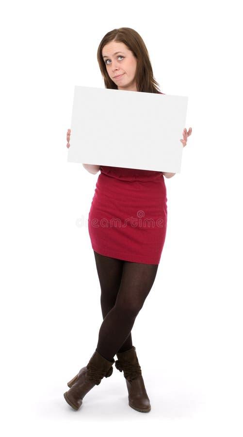 广告牌空的藏品妇女 图库摄影