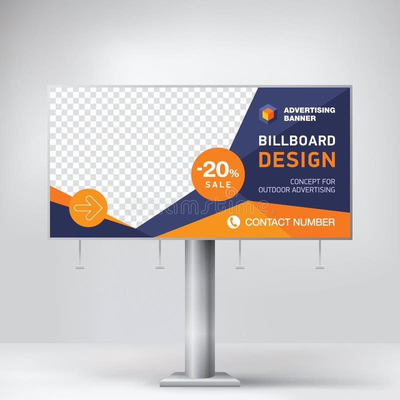 广告牌设计、模板户外广告的,投稿照片和文本 现代企业的概念 创造性的背景 库存例证