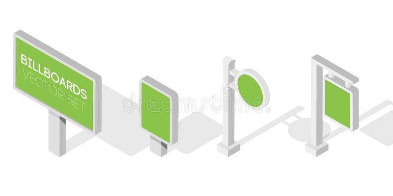 广告牌,给广告牌,城市轻的广告牌做广告 infographic的平的3d等量例证 库存例证